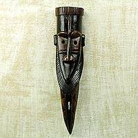 African wood mask, 'Kokroko' - Brown Black African Wood Mask Wall Decor by Ghana Artisan