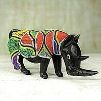 Beaded wood sculpture, 'Beaded Rhino' - Sese Wood Rhino Sculpture with Recycled Glass Beads