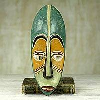 African wood mask, 'Bring Good News' - Hand Carved Painted Rubberwood Mask from Ghana