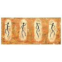 'Dancers' - Acrylic Expressionist Painting of Dancing Figures from Ghana