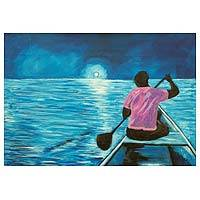 'Journey to the Moon' - Acrylic Impressionist Painting of a Seascape from Ghana