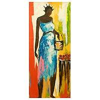 'Market Day' - Acrylic Impressionist Painting of a Woman from Ghana
