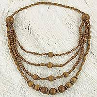 Wood beaded waterfall necklace, 'Simple Essentials' - Sese Wood Beaded Waterfall Necklace from Ghana