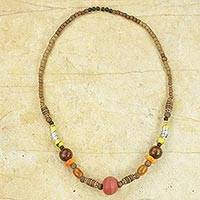 Beaded necklace, 'On Safari' - Colorful Natural and Recycled Beaded Necklace from Ghana