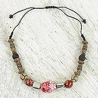 Recycled bead pendant necklace, 'Scarlet Bloom' - Recycled Glass and Sese Wood Pendant Necklace from Ghana