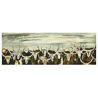 'Grey Bulls' - Signed Impressionist Painting of Bull Herd from Ghana