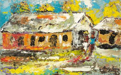 'Neighbourhood' - Signed Impressionist Painting of Houses from Ghana