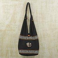 Cotton sling bag, 'Elephant Duo' - Coconut Shell Accent Elephant Cotton Sling Bag from Ghana