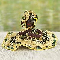 Cotton display doll, 'African Mother in Maize' - Hand Made Cotton Collectible Doll in Maize from Ghana