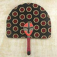 Cotton fan, 'Nsumankwaa' - 100% Cotton Patterned Fan with Wood Handle from Ghana
