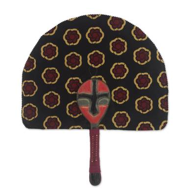 100% Cotton Patterned Fan with Wood Handle from Ghana
