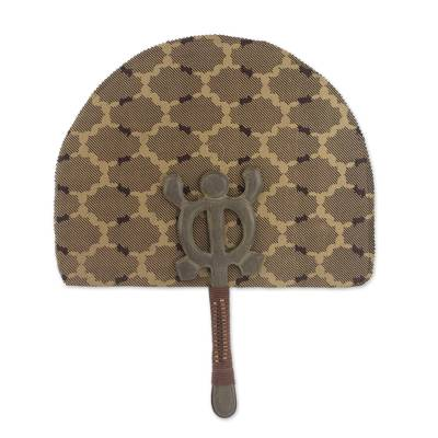 Hand Crafted Cotton Crocodile Motif Fan with Wood Handle