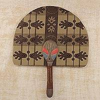 Cotton and wood fan, 'Dani Mask' - Cotton and Wood Fan in Mahogany and Cinnabar from Ghana