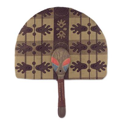 Cotton and Wood Fan in Mahogany and Cinnabar from Ghana