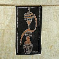 Cotton batik wall hanging, 'African Goddess' - Cotton Batik Wall Hanging of African Woman Carrying Pot
