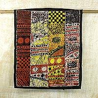 Cotton batik wall hanging, 'Traditional African Motifs' - Cultural Batik Wall Hanging of Traditional African Patterns