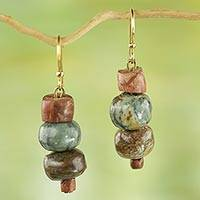 Soapstone dangle earrings, 'Rustic Joy' - Soapstone and Bauxite Bead Dangle Earrings from Ghana