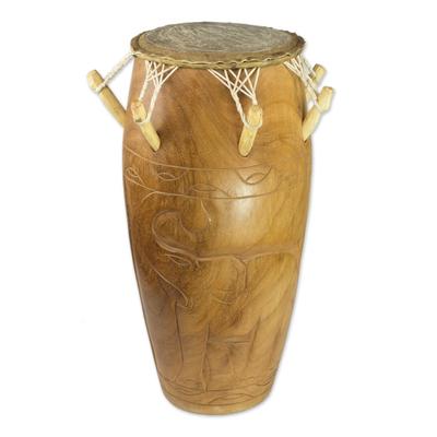 Hand Carved Tweneboa Wood Kpanlogo Drum from Ghana