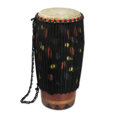 Hand Crafted Tweneboa Wood Bougarabou Drum from Ghana