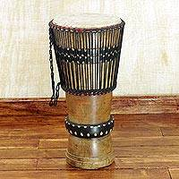 Wood djembe drum, 'Royal Beat' - Handcrafted Tweneboa Wood Djembe Drum from Ghana