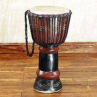 Wood djembe drum, 'Royal Djembe' - Hand Crafted Tweneboa Wood Djembe Drum from Ghana