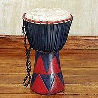 Wood djembe drum, 'Bold' - Red and Blue Tweneboa Wood Djembe Drum from Ghana