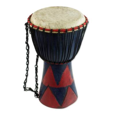 Red and Blue Tweneboa Wood Djembe Drum from Ghana