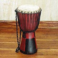 Wood djembe drum, 'Bold Squares' - Handcrafted Tweneboa Wood Djembe Drum from Ghana