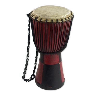 Handcrafted Tweneboa Wood Djembe Drum from Ghana