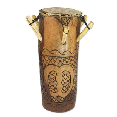 Tweneboa Wood Drum with Goat Skin Head from Ghana