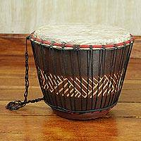 Wood bongo drum, 'Feel the Beat' - Hand Carved Tweneboa Wood Bongo Drum from Ghana