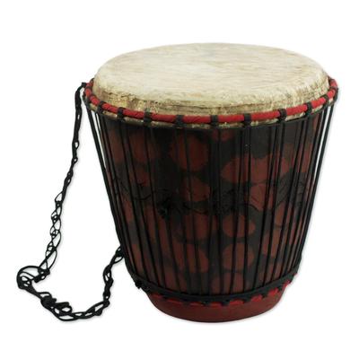 Hand Crafted Tweneboa Wood Bongo Drum from Ghana