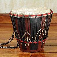 Wood bongo drum, 'Rhythmic' - Hand Carved Tweneboa Wood Bongo Drum from Ghana