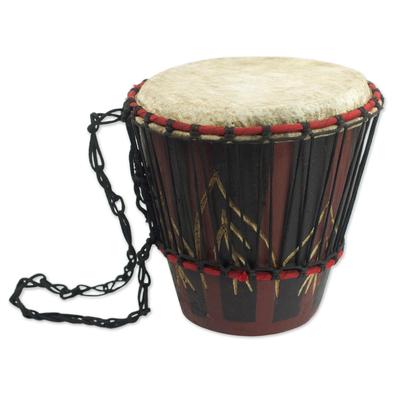 Hand Carved Tweneboa Wood Bongo Drum from Ghana