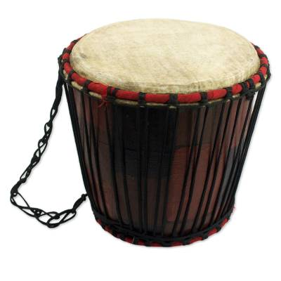 Handcrafted Tweneboa Wood Bongo Drum from Ghana