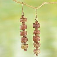 Bauxite dangle earrings, 'Virtuous Abotari' - Rustic Bauxite Dangle Earrings from Ghana