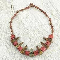 Soapstone beaded pendant necklace, 'Lion Smile' - African Necklace with Soapstone and Recycled Plastic Beads