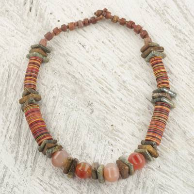 Soapstone beaded necklace, 'Earthen Contours' - Soapstone and Recycled Plastic Beaded Necklace from Ghana