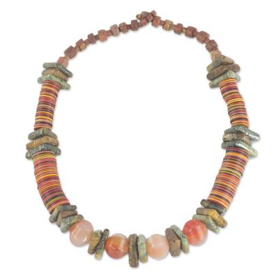 Soapstone and Recycled Plastic Beaded Necklace from Ghana