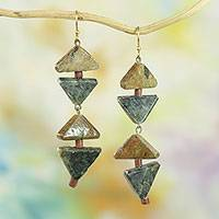 Soapstone dangle earrings, 'Rustic Pyramids' - Handcrafted Triangular Soapstone Dangle Earrings from Ghana