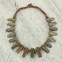 Soapstone beaded necklace, 'Earthen Corona' - Soapstone and Bauxite Rustic Beaded Necklace from Ghana