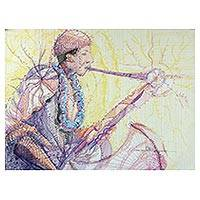 'Playing The Limit' - Signed Colorful Modern Painting of a Saxophone Player