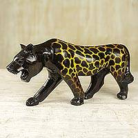 Mahogany wood sculpture, 'Prowling Cheetah' - Prowling Cheetah Mahogany Carved Sculpture from Ghana