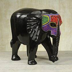 Beaded mahogany wood box, 'Elephant Masquerade' - Mahogany and Recycled Glass Bead Decorative Elephant Box