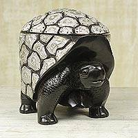 Mahogany wood decorative box, 'Protected Turtle' - Mahogany and Aluminum Decorative Turtle Box from Ghana