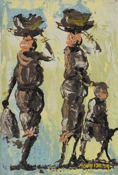 'To the Market' - Impressionist Painting of African People from Ghana