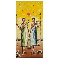 'Maasai' - Impressionist Painting of Maasai Women Signed Art from Ghana