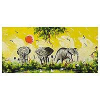 'Elephant Posture' - Impressionist Painting of Elephants Signed Art from Ghana