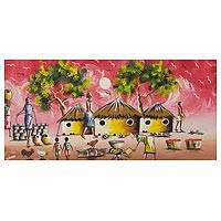 'Village View' - Impressionist Painting Ghanaian Village Scene Signed Art