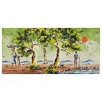 'Harmony' - Impressionist Signed Painting Ghanaian Trees and Villagers